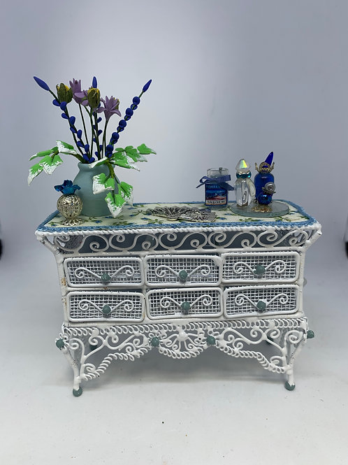 White Wire Bedroom Drawers - blue