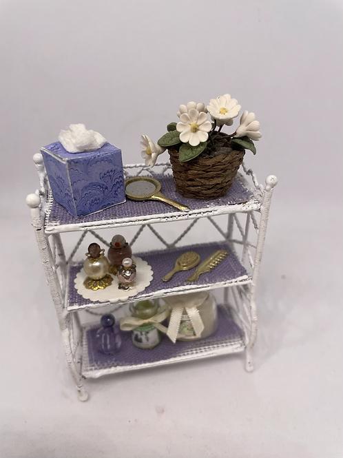 White wire lilac bathroom shelf