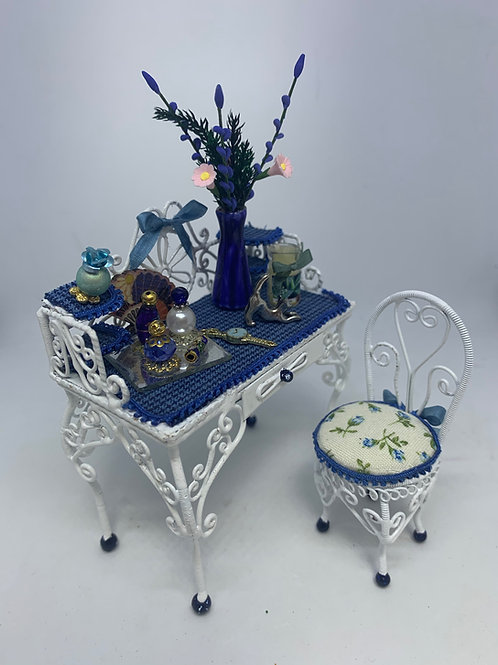 White Wire Dressing Table & Chair - Blue