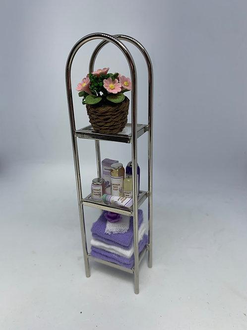Silver Bathroom Shelves   - Purple