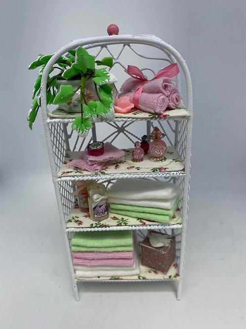 White Wire Bathroom Shelf - Pink