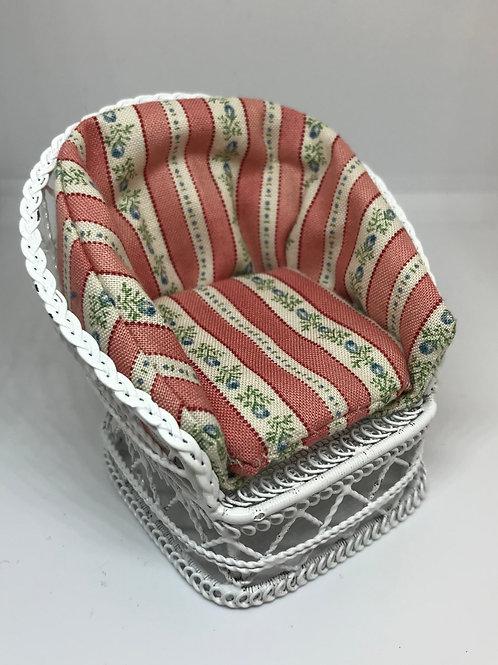 White wire chair - pink stripe