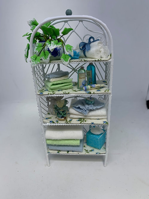 White Wire Bathroom Shelf - Blue