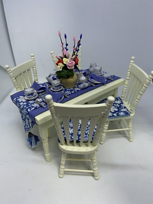 Blue Dining Table and Chairs