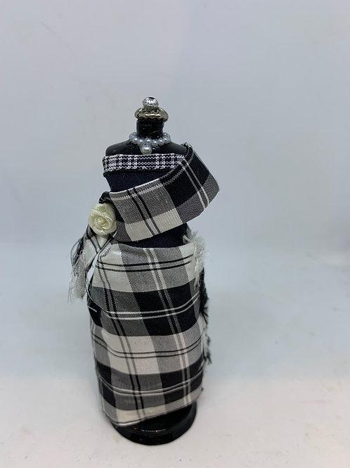 Black Tartan Evening Dress on Mannequin
