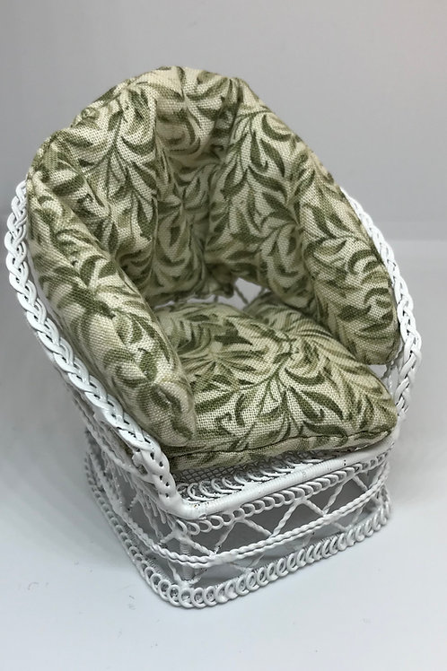 White wire chair - green willow