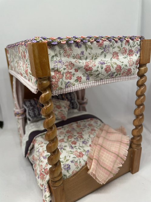 1/12th Hand Turned Four Poster Bed - Sarah