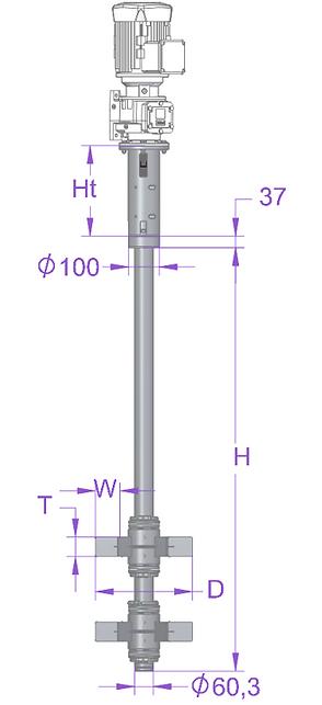 Top installation D60 magnet mixer assembly