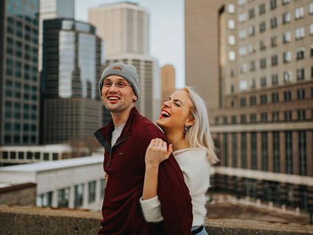 Minneapolis Skyline Unposed Engagement Session