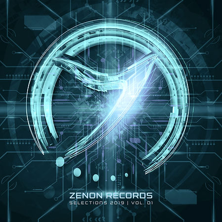 Zenon Selections Album Cover Green and Blue with Circuit boards
