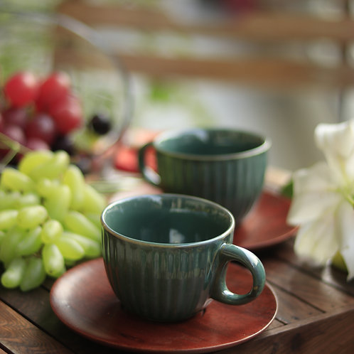 Bottle Green Ceramic Cup with Wooden Saucer