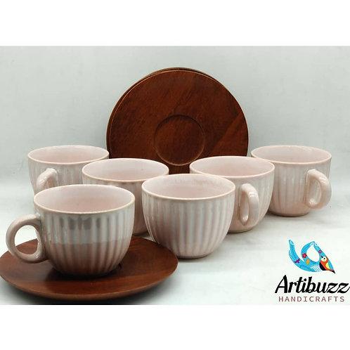 Pink Cup & Mangowood Saucer Set