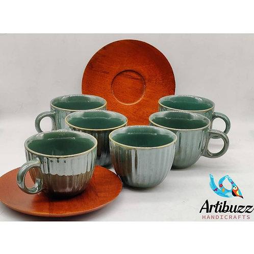 Aquarious Green Cup & Mangowood Saucer Set