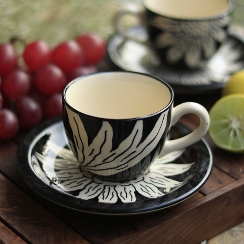 Black Ceramic Cup and Saucer