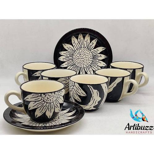 Sunflower Black Cup & Saucer Set (6)