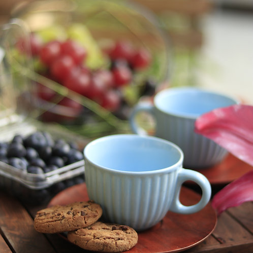 Sky Blue Ceramic Cup with Wooden Saucer