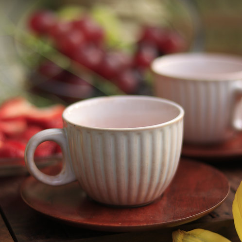 Pink Ceramic Cup with Wooden Saucer