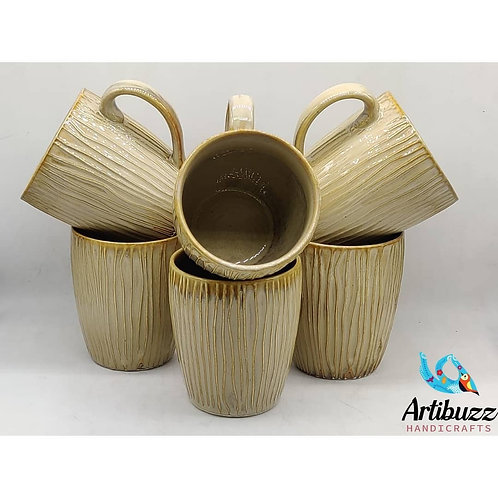 Golden Embossed Mug ( Set of 6)
