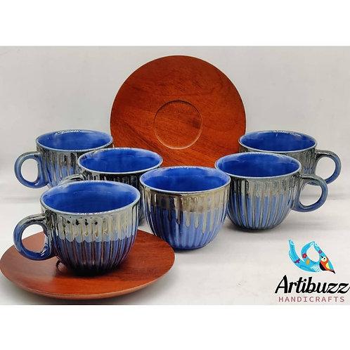 Blue Cup & Mangowood Saucer Set