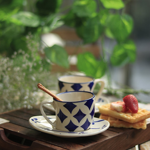 Blue Ceramic Cup and Saucer