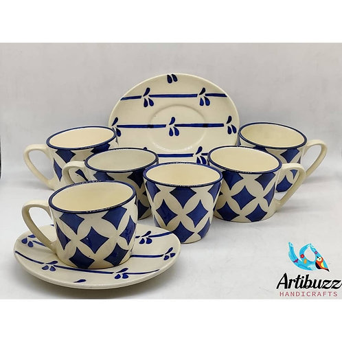Moroccan White Cup & Saucer Set (6)
