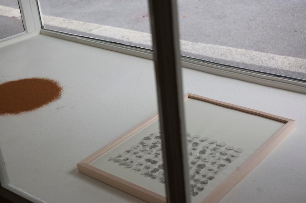 Ausstellungsansicht Galerie f5 Luzern Zeichnung Tusche, Totholz 2019