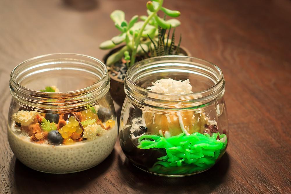 Left: Chia Seed & Caramelized Hazelnut Pudding. Right: