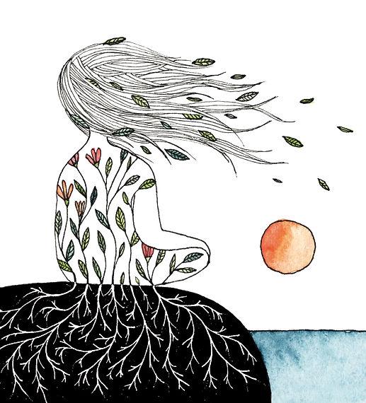 Illustration femme cheveux au vent coucher de soleil