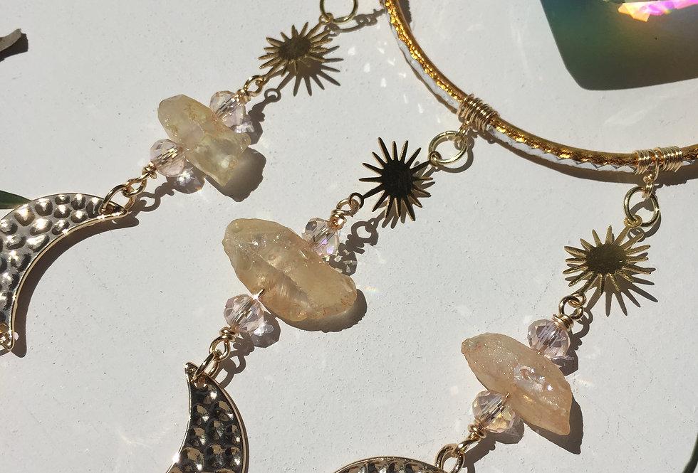 """Golden Moonbeams"" // large heart crystal // suncatcher"