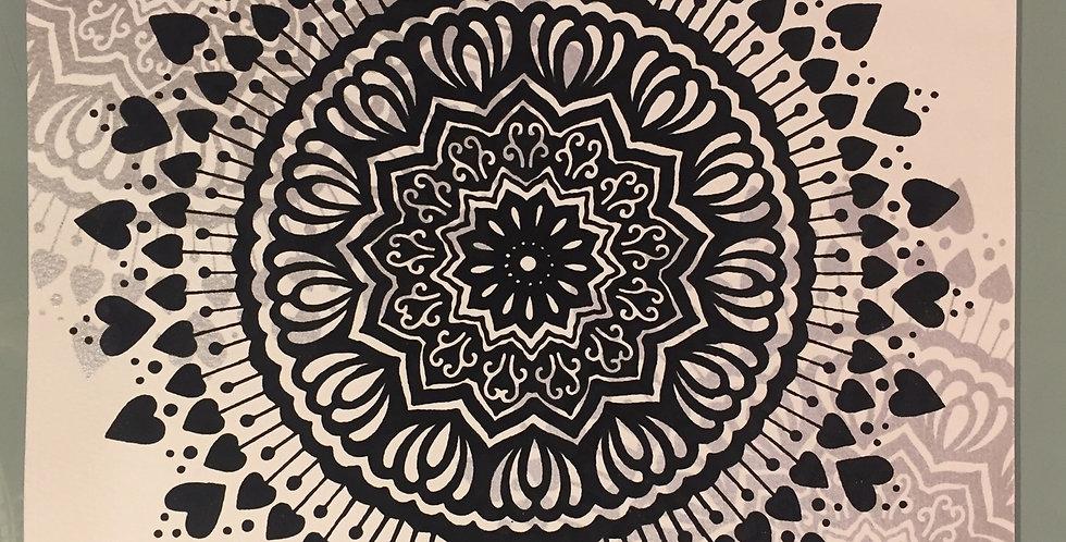 """Spread the Love"" mandala // black print // white background"