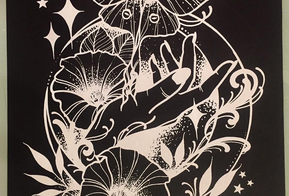 """Under the moonlight"" // white print // black background"