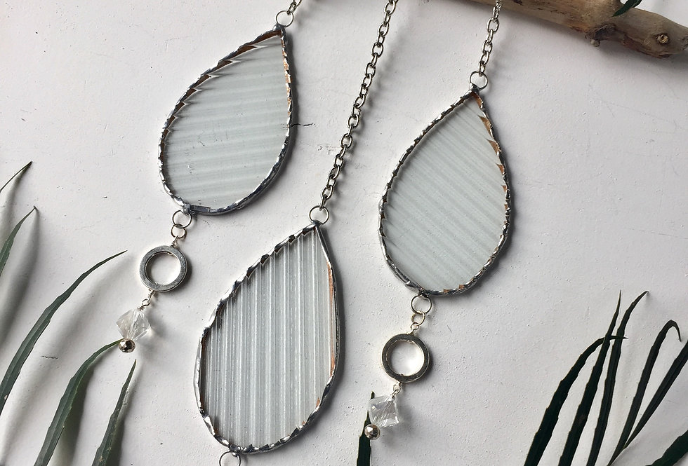 Industrial // clear wavy stained glass // suncatcher