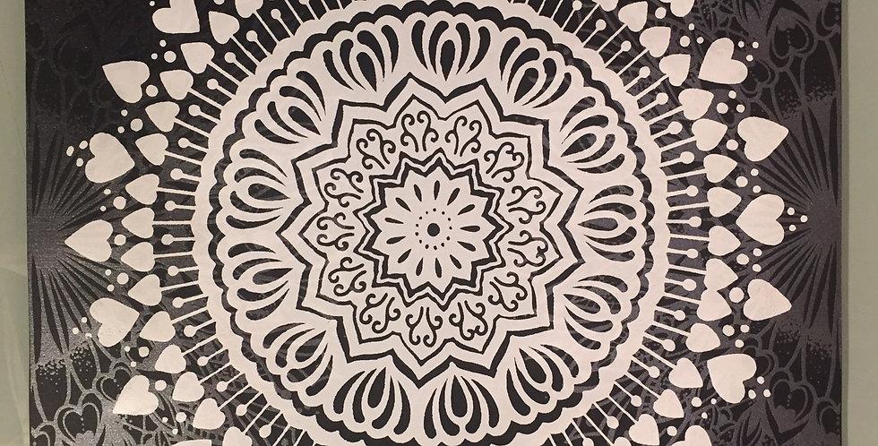 """Spread the Love"" mandala // white print // black background"