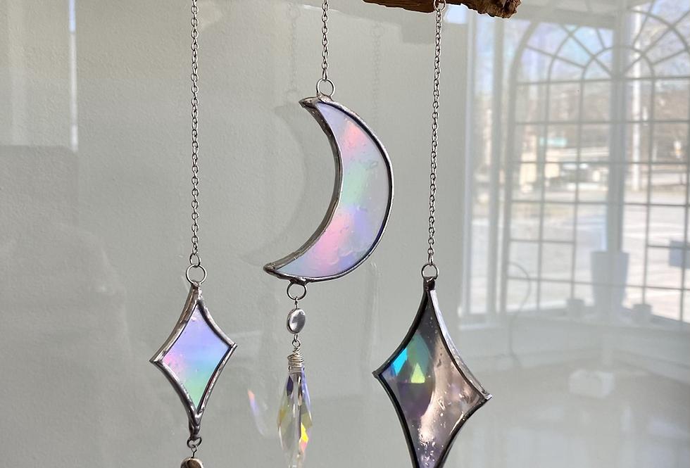 Holographic moon+stars // suncatcher