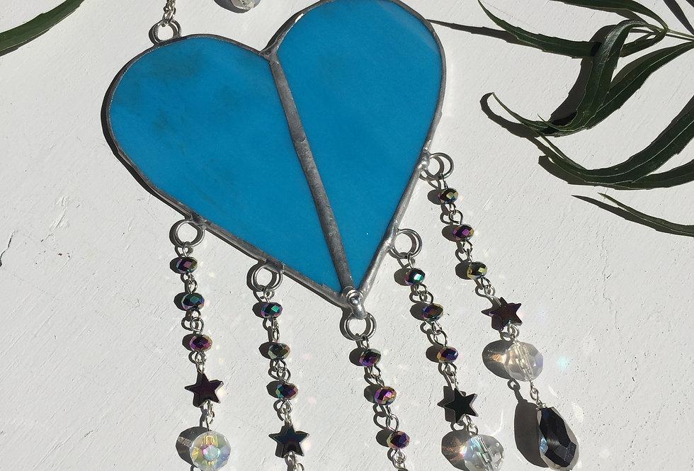 "Large blue stained glass ""celestial"" heart // suncatcher"