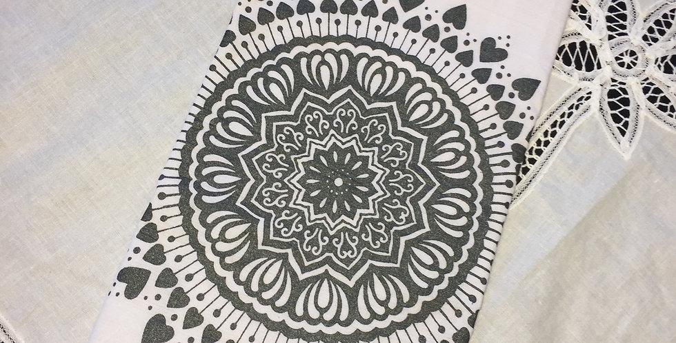 Spread the Love mandala // Shimmery dark grey // tea towel