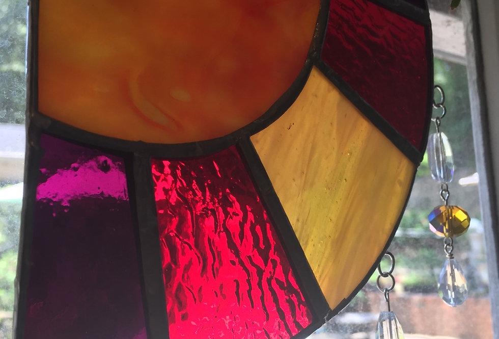 """ A little sunshine in my window"" // stained glass // corner hanging suncatcher"