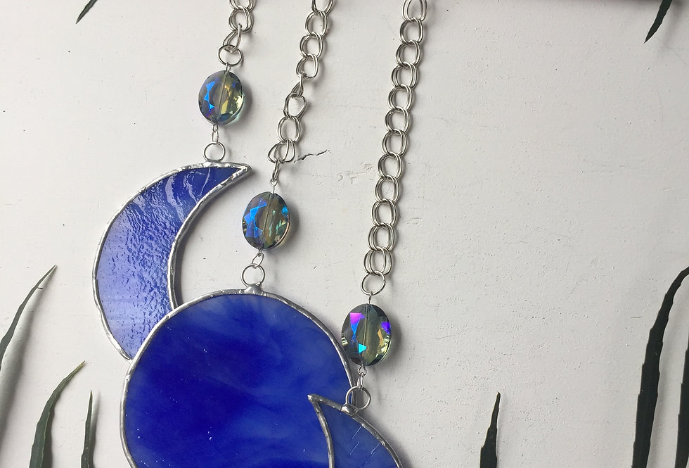 """Blue Moon"" // stained glass // suncatcher"