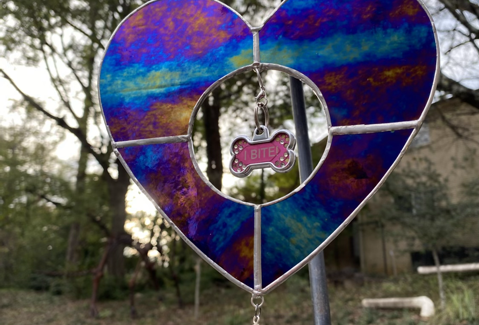 Black stained glass // heart// pet tag holder