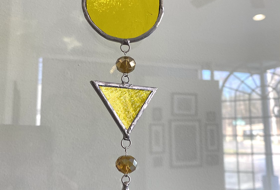 Bright yellow geometric shapes // suncatcher