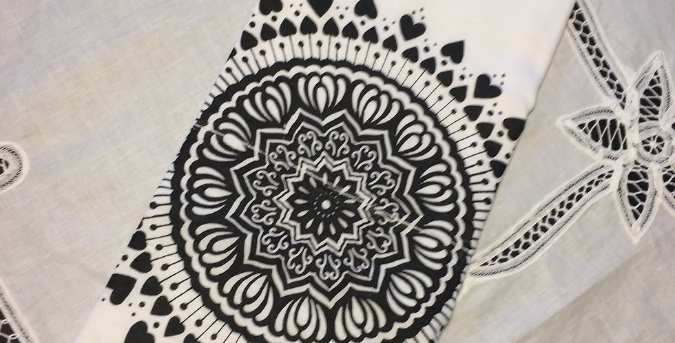 Spread the Love mandala // Black print // tea towel