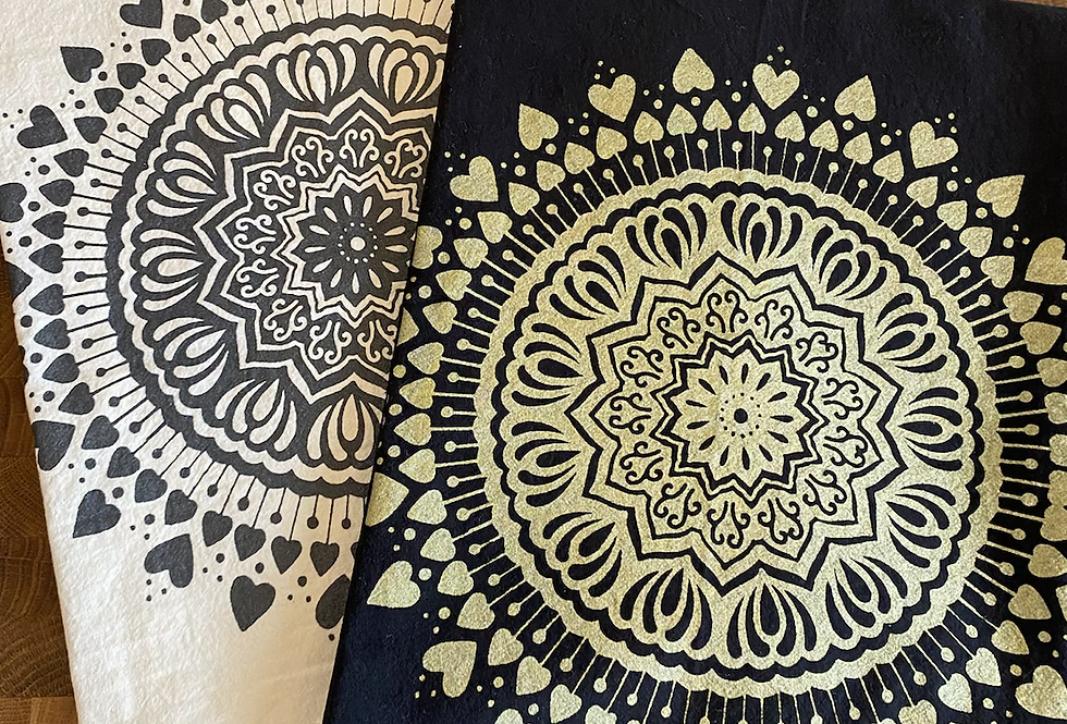 """Spread the Love"" mandala // tea towel // gold or shimmery grey option"