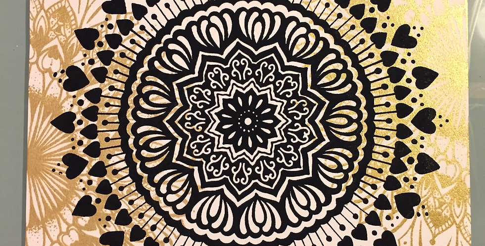 """Spread the Love"" mandala // gold ""heart-full"" mandala accents//white background"