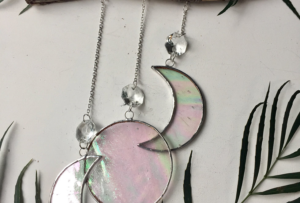 Iridescent clear stained glass //goddess moon //suncatcher (3 of 3)