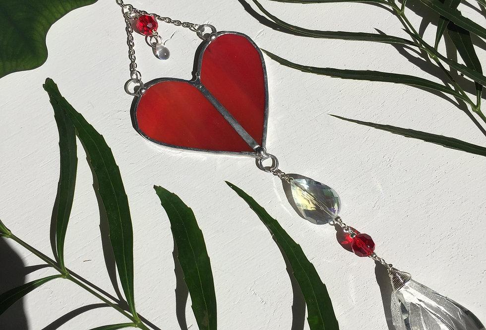 "Small red stained glass ""bleeding heart"" // suncatcher"