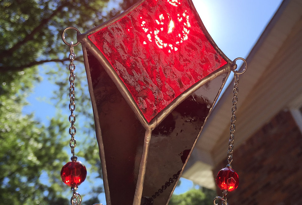 "Black and red stained glass ""shooting star"" // suncatcher"
