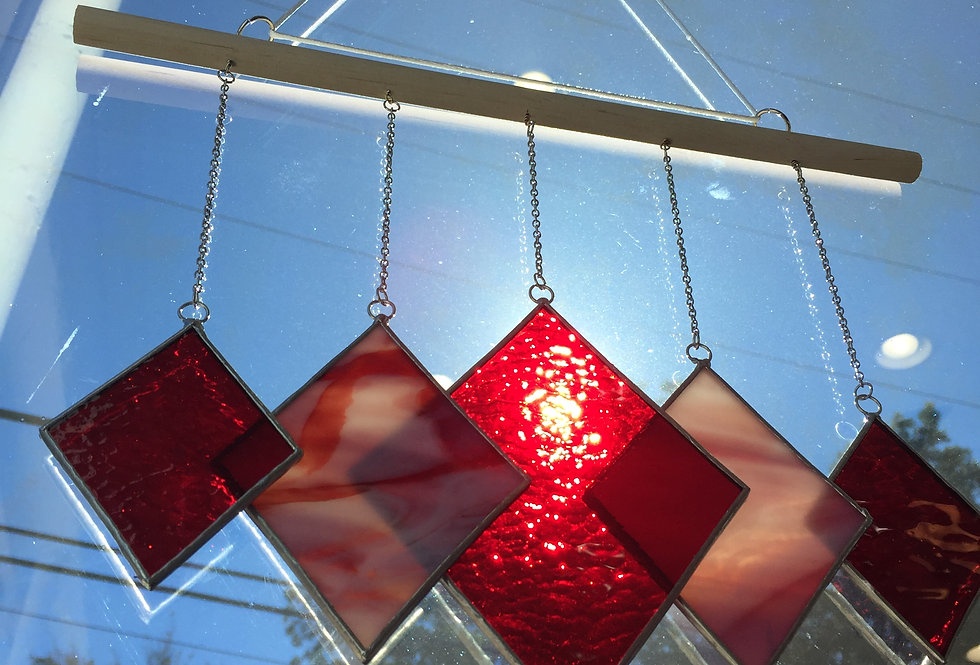 Red diamonds // stained glass // mobile suncatcher