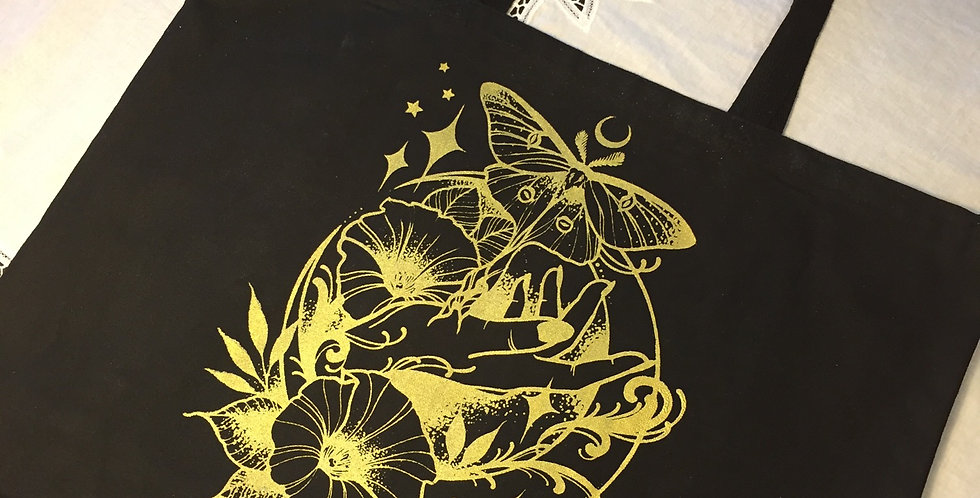 Under the Moonlight // Black tote // gold print