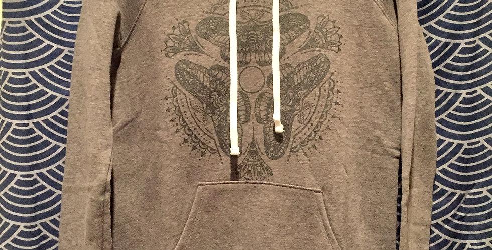 Triple moth manada//Women's grey hoodie//shimmery dark grey