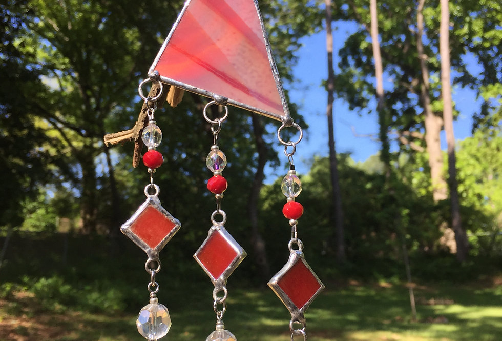 Red triangle stained glass with triple red diamonds // suncathcer